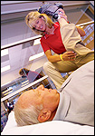Patient receiving outpatient physical therapy
